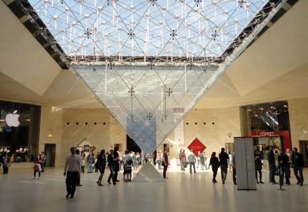 Abaixo da Pirámida do Louvre