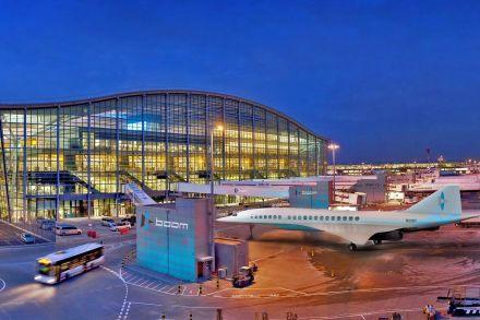 O avião da Boom imaginado no aeroporto de Londres