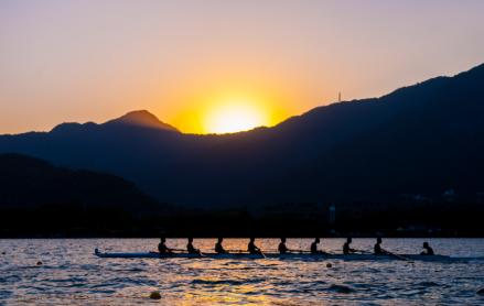 Remadores olimpicos na Lagoa Rodrigo de Freitas