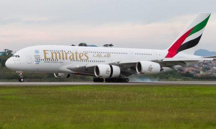 A chegada do primeiro A380 da Emirates em São Paulo