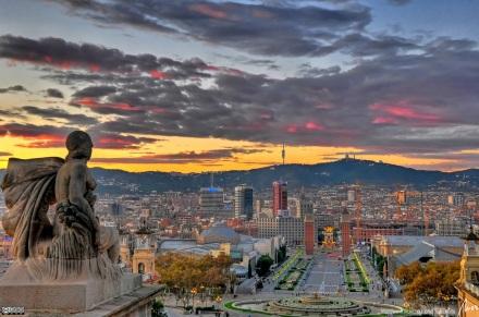 Por do Sol em Barcelona