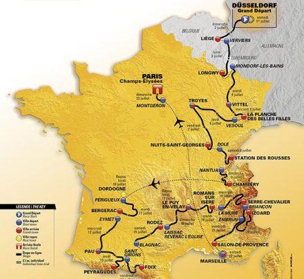 O mapa do Tour 2017